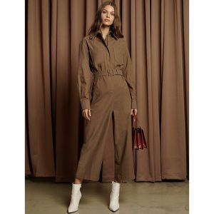 Pixie Market Jeanne Brown Belted Jumpsuit
